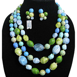 Hattie Carnegie Three Strand Blue Green Turquoise Colored Beaded Necklace and Matching Earrings Original Paper Hand Tags