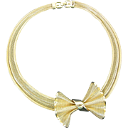 Vintage Givenchy Gold Tone Mesh Bow Necklace