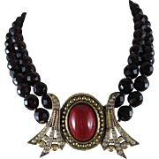 Vintage Ellelle Italian Deep Garnet Red Glass Two Strand Necklace Art Deco Style