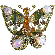 Hattie Carnegie Signed Crystal Rhinestone Opal Glass Cabochons Butterfly Brooch