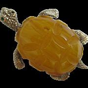 Vintage Cadora Butterscotch Bakelite Turtle Brooch Pin