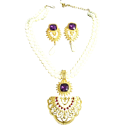Elizabeth Taylor Shaill Jhaveri for Avon Imperial Elegance Necklace and Earring Set Demi