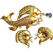 Vintage 1993 Elizabeth Taylor Koi Fish Brooch and Matching Earrings Sea Shimmer Collection