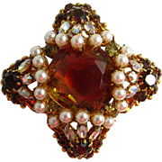 Original by Robert Large Givre Glass Rhinestones and White Faux Pearls Brooch/Pendant
