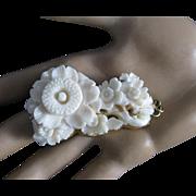 Vintage 14K Gold White Angel Skin Coral Large Carved Flower Pendant