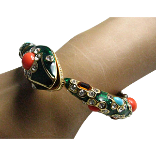 Kenneth Jay Lane Snake Cuff Clamper Faux Turquoise and Coral Snake Bracelet