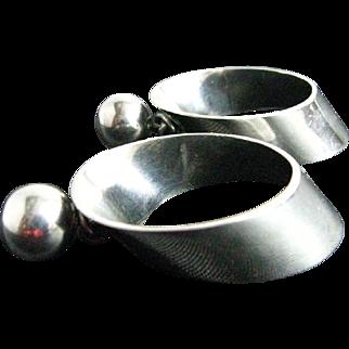 Vintage Sterling Silver Large Wide Dangle Hoop Earrings Signed SU Mexico 925