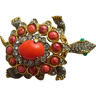 Early 1960's K.J.L. Kenneth Jay Lane Coral Cabochon Turtle Brooch