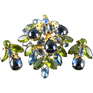 Vintage Juliana D&E Shades of Blue and Olive Green Cabochon Rhinestone Gold Tone Brooch and Earring Set