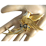 "BOUCHER Vintage BIRD OF PARADISE 4"" Gold Plated Metal Rhinestone Brooch"