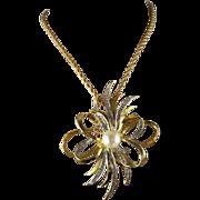 Vintage Cindy Adams Large Stylized Ribbon Bow Gold Metal Rhinestone Large Faux Pearl Brooch/Pendant