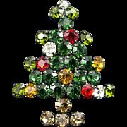 Vintage Made in Austria Rhinestone Christmas Tree Pin