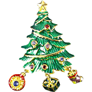 Vintage Christopher Radko Bright Metallic Green Enameled Christmas Tree with dangling Ornaments