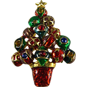 Delightful Vintage Christopher Radko Enameled Ornaments and Rhinestones Christmas Tree