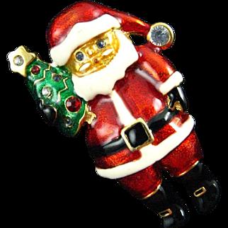 Christopher Radko Red Enameled Jolly Santa Clause Holding a Christmas Tree