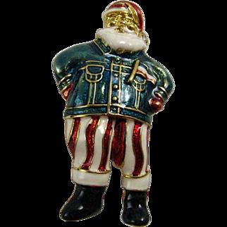 Cool Santa! Christopher Radko Retired Santa Clause Enameled Pin Wearing a Jean Jacket