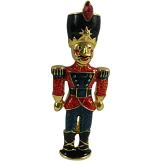 Christopher Radko Toy Soldier Nutcracker Enameled Christmas Pin