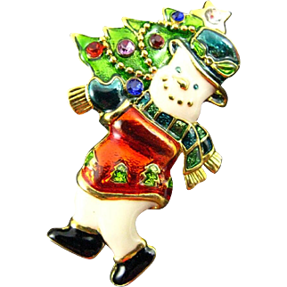 Adorable Christopher Radko enameled Snowman Carrying a Christmas Tree Pin