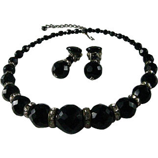 Vintage Black Faceted Glass Bead Choker with clear  Rhinestone Rondel Beads and Made in Austria Earrings