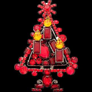 "Vintage Lawrence Larry Vrba Huge 5"" Red Glass Rhinestone Christmas Tree Pin"