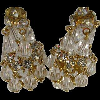 Fabulous Hattie Carnegie Austria Crystal Rhinestone Chandelier Earrings