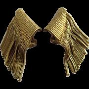 Hattie Carnegie Signed Gold Base Metal Fringe Clip earrings