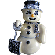 Famous Eisenberg Snowman Enameled Pin with Black top Hat Rhinestones Marcasite Shovel