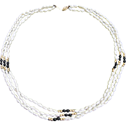 14K Gold Clasp and 14K Gold Beads White Freshwater Pearls Black Onyx Three Strand Necklace