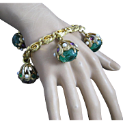 Vintage Etruscan Style Large Ornate Marbled Glass Faux Pearls and Rhinestone Hattie Carnegie Charm Bracelet