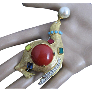 Early 1960 Kenneth Jay Lane K.J.L. Seal Balancing Faux Pearl Brooch Fantasy Series Collection