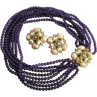 1990's Elizabeth Taylor's Forever Violets Necklace and Earrings Set