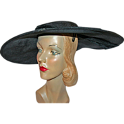 Straw Portrait Hat, Roxanne NY c1940 - Red Tag Sale Item