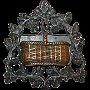 Antique Bronze Match Safe Basket Form, Ex-Collection, c1890 - Red Tag Sale Item