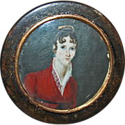 Antique c1840 Early American Portrait Miniature on Shell Snuff Box