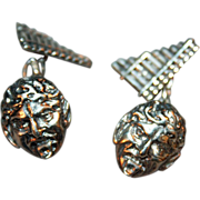 Sterling Silver Figural Cufflinks Pan and his Pipes London c1900