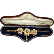 Perfect Presentation ~ Silver Gilt Bracelet in Leather and Silk Case c1840 - Red Tag Sale Item