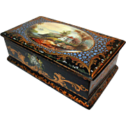 Jewelry Box with Hand Painted Miniature Landscape c1875