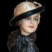 Sheared Beaver Wide Brim Hat Titanic Era, Edwardian c1912