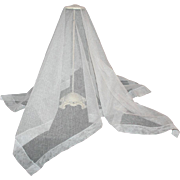 Silk Bonnet Veil in White c1870