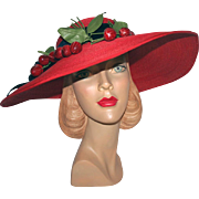 Red Straw Portrait Hat c1940s w/ Cherries ~ Peter Bondi Original