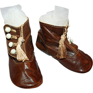 Baby Boots ~ Kid Leather, Tassels c1875