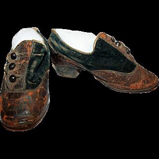 Child's Shoes c1850~ Leather, Velvet, Modified Cuban Heels
