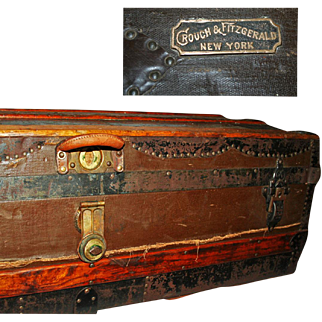 Antique Crouch and Fitzgerald Steel Framed Trunk ~ Original c1885
