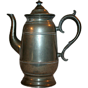 Neoclassical Era Pewter Coffee / Tea Pot c1844 ~ Lyman of Connecticut