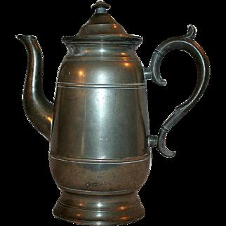 Neoclassical Era Pewter Coffee / Tea Pot c1844 ~ Lyman of Connecticut