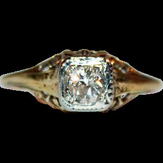 Solitaire Diamond in 14kt Gold Filigree Ring c1918 Elegant, Feminine, Wedding or Engagement
