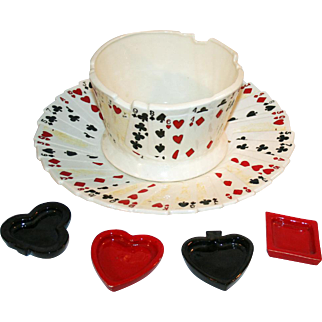 Fantastic Studio Made Pottery Playing Cards Bridge Set Dated 1982