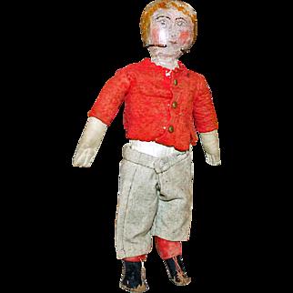 American Cloth Boy Doll, Oil Painted, Wool Clothing c1885