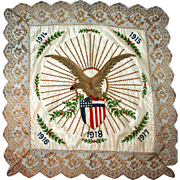 Armistice Pillow Sham, Silk with Embroidery 1918
