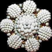 Vintage Miriam Haskell White / White Flower Brooch c1950-60